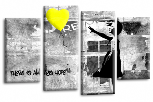 Banksy Wall Art Canvas Yellow Balloon Girl Picture Love Peace Multi Panel